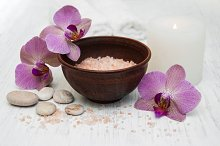 Pink orchids and salt
