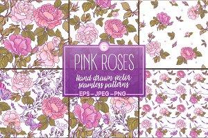 Pink Roses seamless patterns set