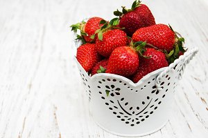Bucket with strawberries