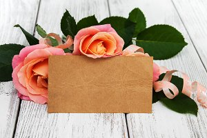 Pink roses with greeting card