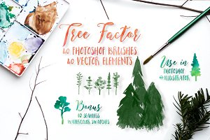Watercolor tree brushes & elements