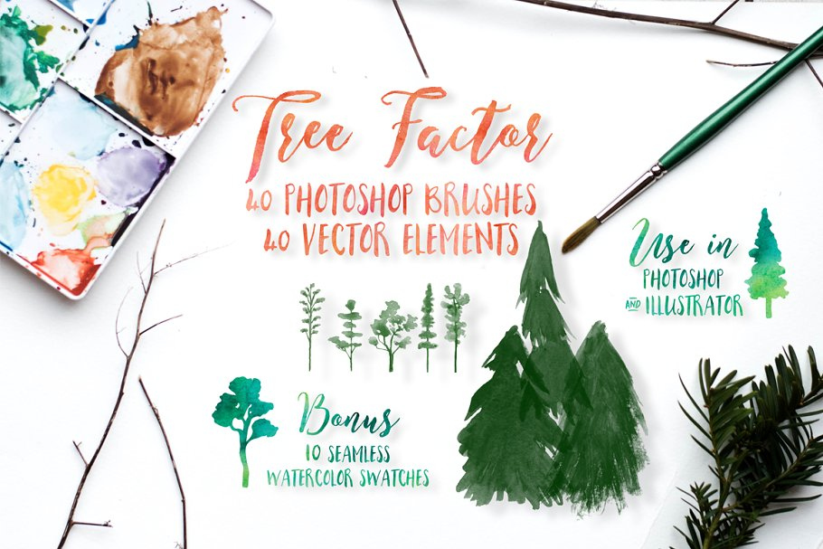 Watercolor tree brushes & elements ~ Illustrator Add-Ons ~ Creative