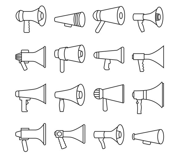 Megaphone Thin Line Icons