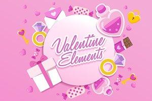 Big Set of Valentine Elements