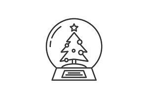 Snow globe linear icon. Vector