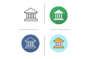 Courthouse. 4 icons. Vector