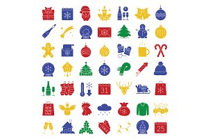 Christmas. 49 icons. Vector