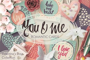 Vector romantic cards collection