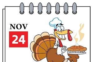 Calendar With Turkey Chef With Pie
