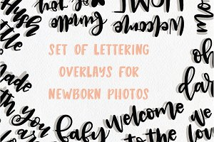 Set of handlettered cutsie overlays