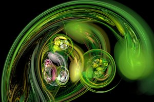 Green curves and waves abstract background