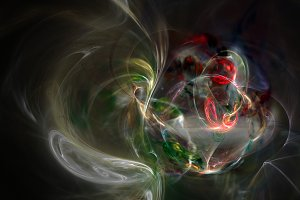 Colorful curves and smoke abstract background