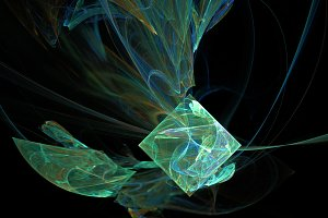 Green cube curves and waves abstract background