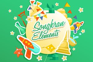 Big Set of Songkran Festival Element