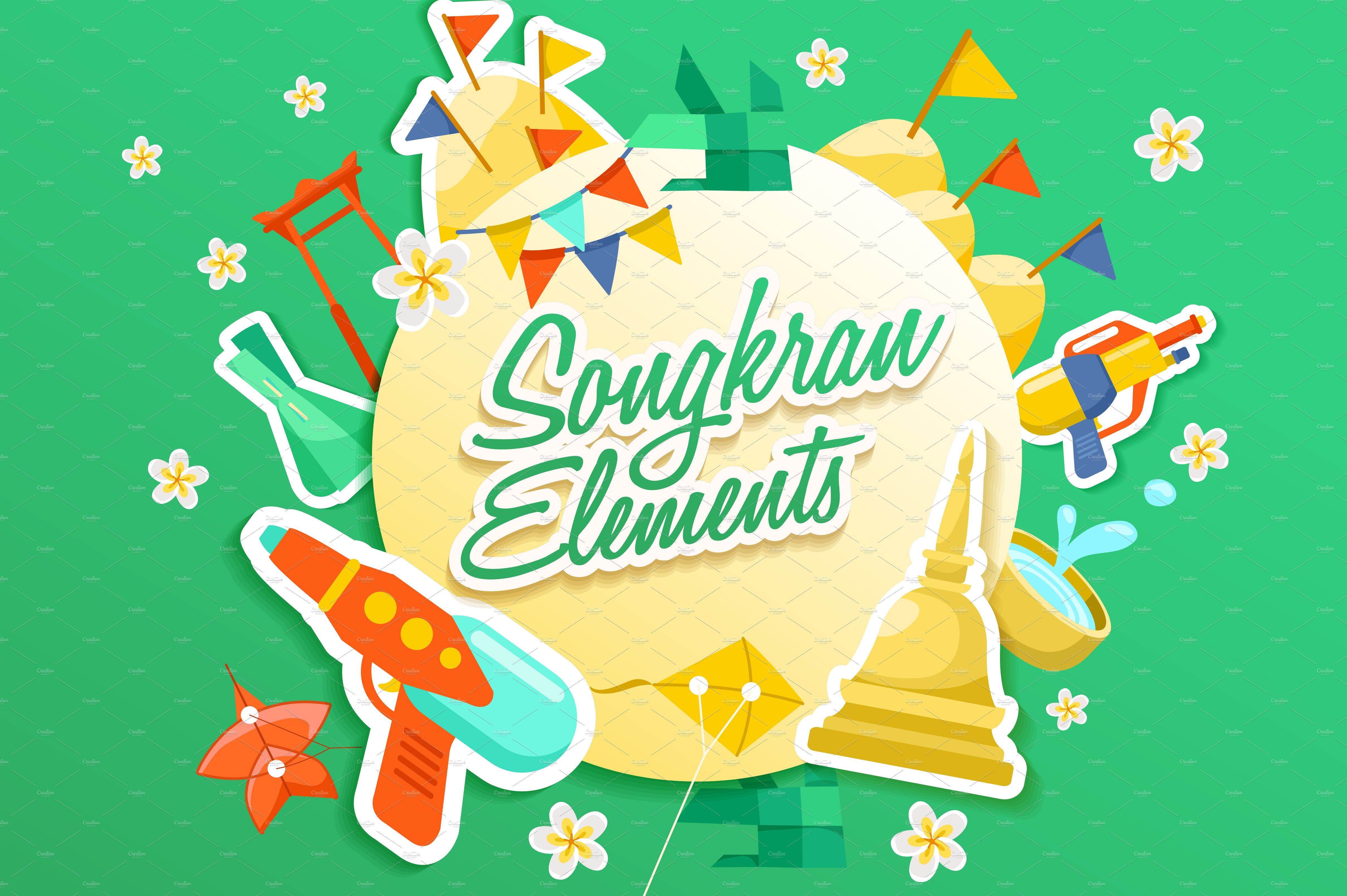 Big Set Of Songkran Festival Element Graphic Objects