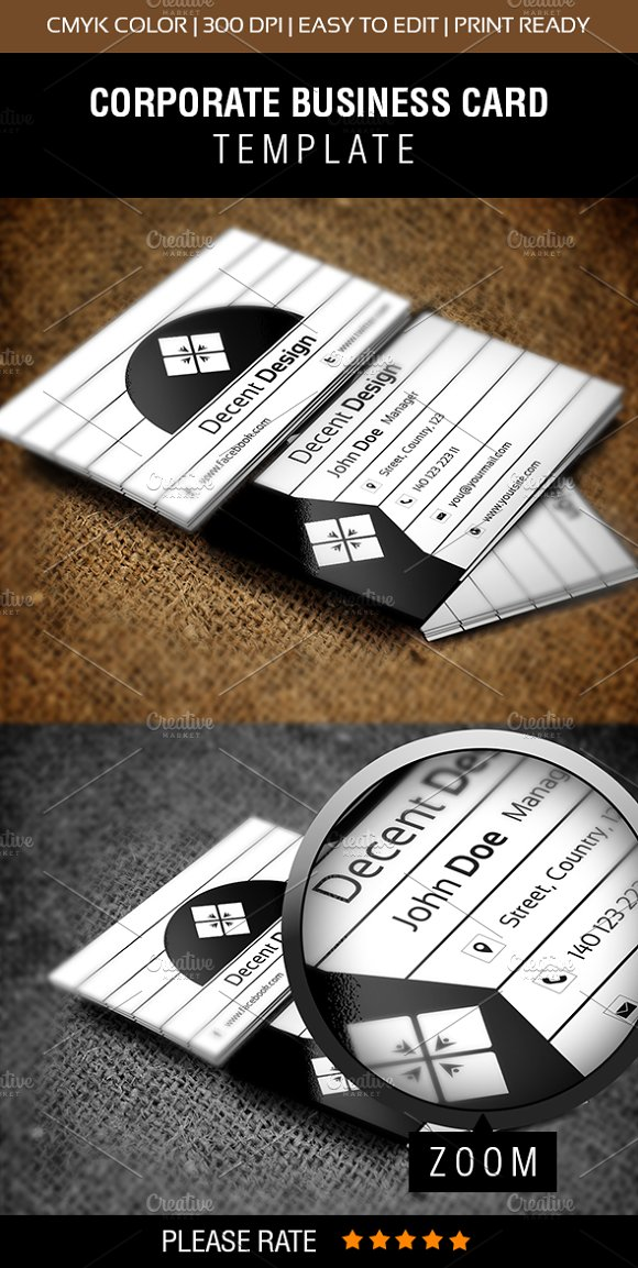 Decent Design Business Card ~ Business Card Templates ~ Creative Market