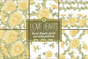 Chrysanthemums seamless patterns set