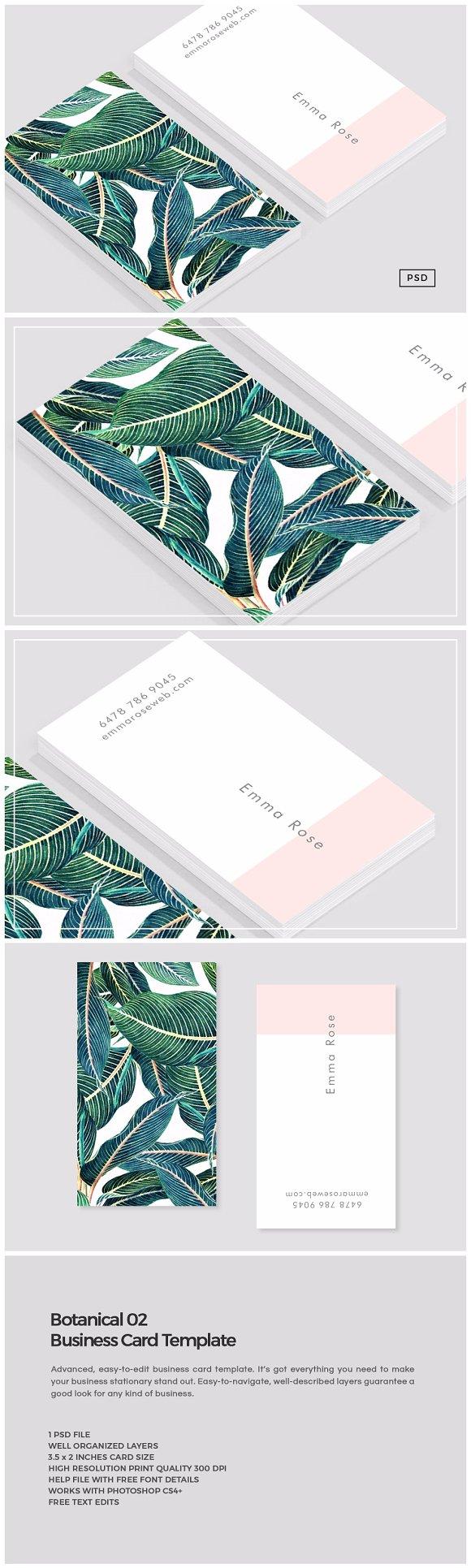 Botanical 02 Business Card Template ~ Business Card Templates ...