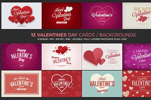 12 Valentines Day Cards/Backgrounds