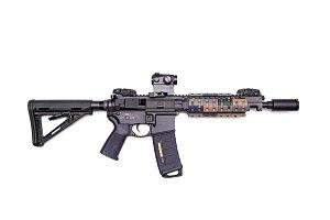 "The Black Rifle: custom build 9"" AR-15 SBR isolated on a white background"