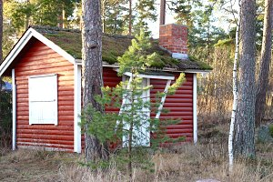 Red Nordic cabin