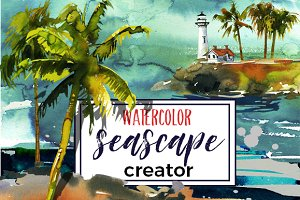Watercolor Sea Palms Seascape Kit