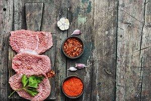 Raw steak for steak