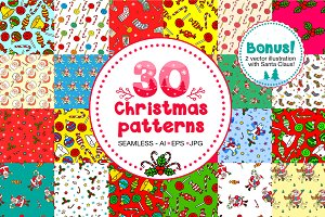 30 Christmas seamless patterns