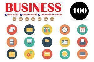100 Business Flat Circle Icons