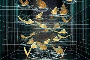 mathematical trajectory butterfly flight 3d rendering