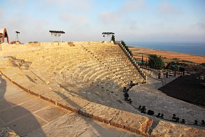 Ancient Greco-Roman amphitheater at the archaeological site of Kourion. Episkopi, Limassol District, Cyprus