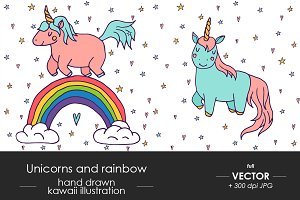 Set of cute unicorn illustration
