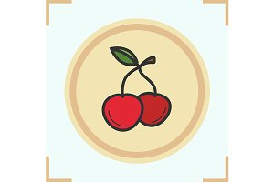 Cherries color icon. Vector