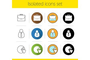 Business. 12 icons. Vector