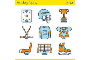 Hockey equipment. 9 icons. Vector
