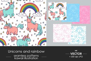Big set: kawaii unicorn pattern