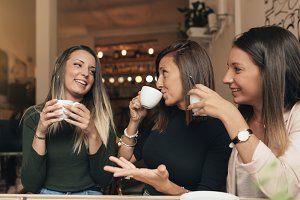 Beautiful women drinking coffee.