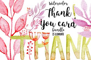 Watercolor Thank you card set