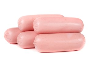 Five sausages isolated on white background closeup