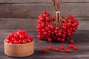 viburnum berries in a bowl on  wooden background