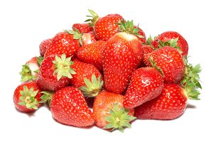 Red strawberries isolated on white
