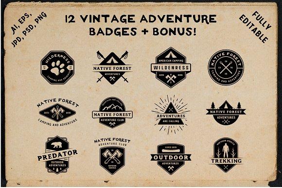 12 Vintage Adventure Badges