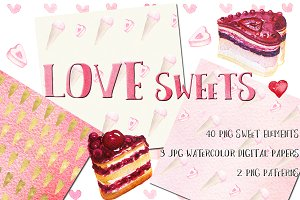 Love sweets. Watercolor clipart
