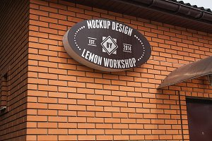 Logo Mockup Outdoor Textured Sign