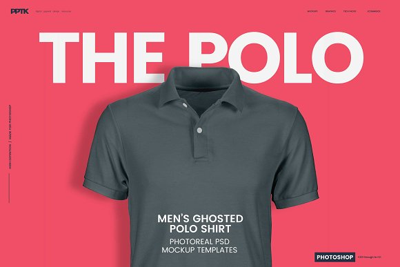 mens ghosted polo shirt template photoshop cm 01