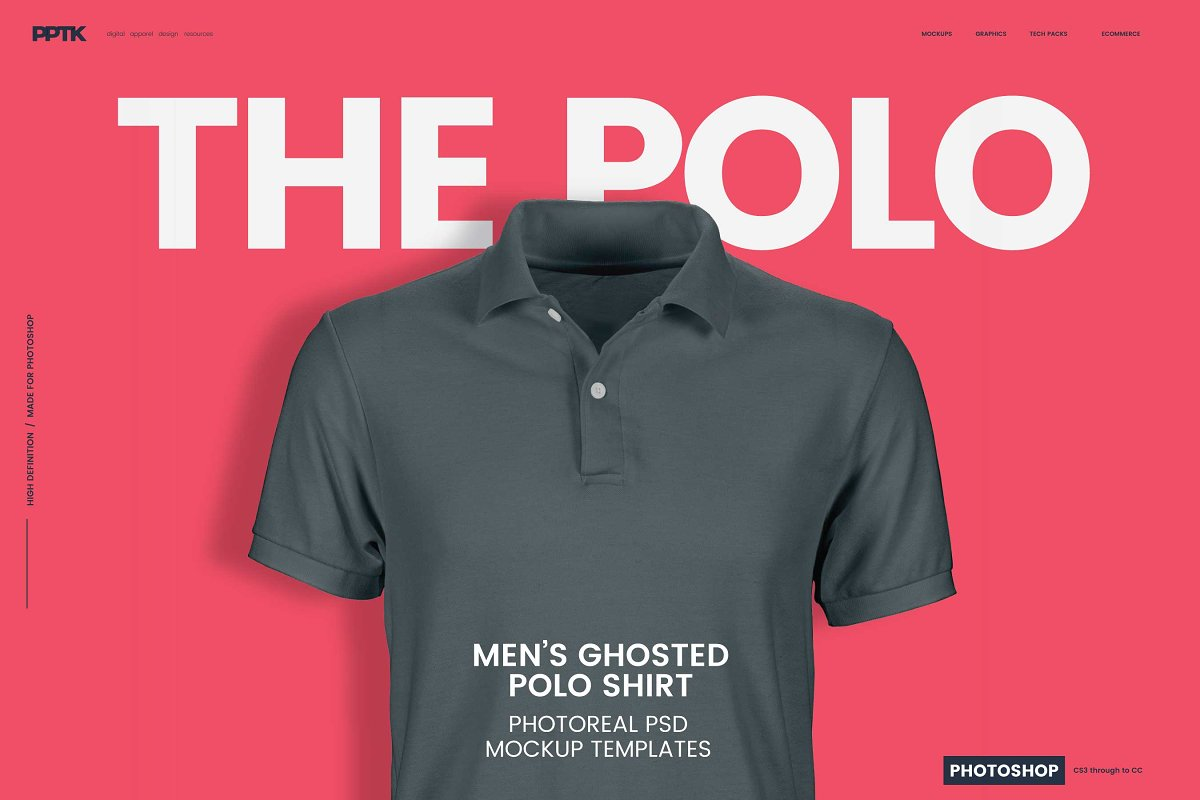 4b961ebc Men's Ghosted Polo Shirt Mockups ~ Product Mockups ~ Creative Market