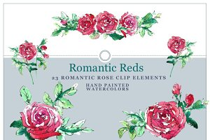 Romantic Red Roses Design Elements