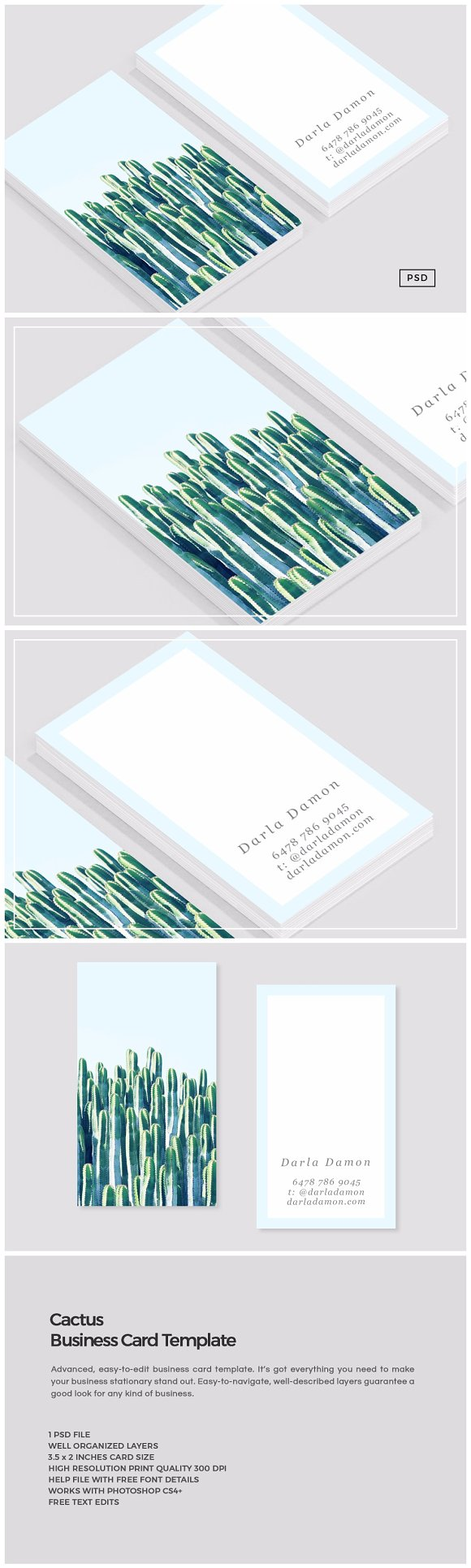 Cactus Business Card Template Business Card Templates Creative - Easy business card template