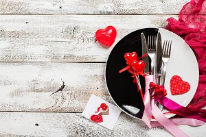 Valentine day table setting.