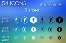 Social media icons hexagonal shapes